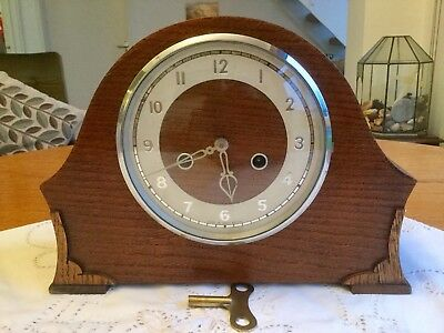 Vintage  Smiths Enfield Striking Mantel Clock - Working With Key