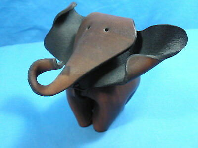 "Small All Leather Elephant In Deru Style - 4 1/4"" Long x 3 3/4"" Tall x 4"" Wide"