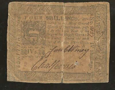 1773 Original Hand Signed Colonial Currency 4 Shillings Hall & Sellers note Rare