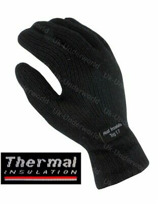 Mens Adults Black Knitted Thermal Thinsulate Insulation Lined Winter Warm Gloves