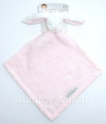 NWT Blankets & Beyond Pink White Bunny Rabbit Security Lovey Nunu Closed Eyes