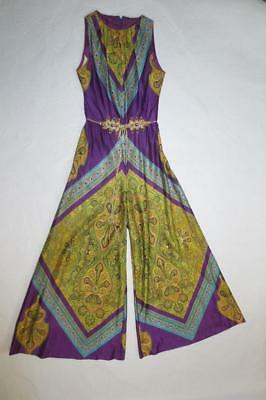 Extreme Palazzo Psychedelic Jumpsuit One Piece, Bohemian Disco 70's Vtg  S/M
