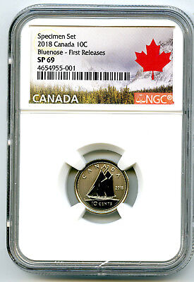 2018 Canada 10 Cent Ngc Sp69 First Releases Frosted Bluenose Dime Rare Cert 001!