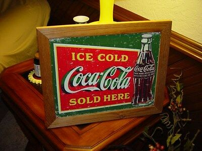 Coca Cola Custom Cedar Framed Retro Sold Here Tin Restaurant Bar Sign Weathered