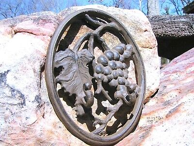 Cast Iron grape vine wall hang with hooks for kitchen pot holders and oven mitts
