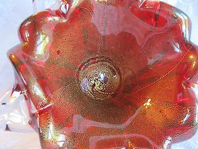 Rich Antique Clear & Ruby Red With Gold Dust Murano Glass Bowl Hand Blown Old