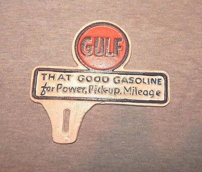 """GULF LICENSE TAG """"That Good Gasoline For Power, Pickup, Mileage"""" CAST IRON SIGN"""