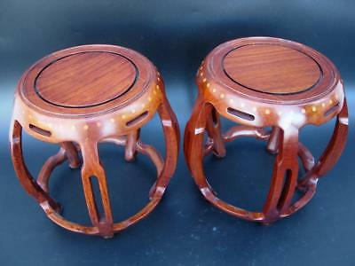 A Pair Of Old Chinese Barrel Form Wood Display Or Incense Stands