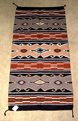 Hand Woven Wool Throw Rug Tapestry Southwestern 32x64 363