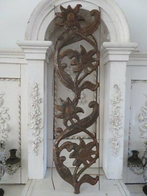 OMG OLD Architectural METAL PANEL Decor Flat Column Embossed FLOWERS PATINA!