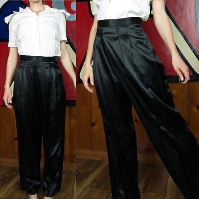 BEAUTIFUL Vtg 30s 40s Black Rayon Pin-Up High Waist Front Pleat Trousers Pants M