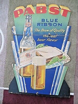 """c 1940 PABST BLUE RIBBON BEER COUNTER SIGN-34"""" BY 22"""""""