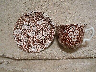Crownford China Staffordshire England Brown Calico Cup Saucer Set Chintz #1  580