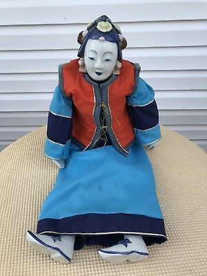 Large Asian Chinese Porcelain Head Hands And Feet Doll