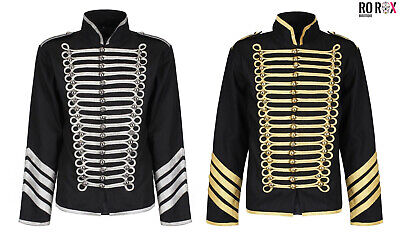 Ro Rox Gold Silver Hussar Parade Gothic Jacket Mens Military Drummer Steampunk