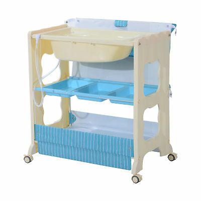 HOMCOM Multi-use Baby Changer Changing Table Bath Station Storage Unit Blue