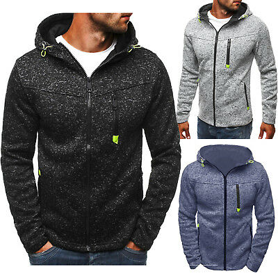 Men Winter Slim Fitness Hoodie Hooded Zip Sweatshirt Coat Jacket Outwear Sweater