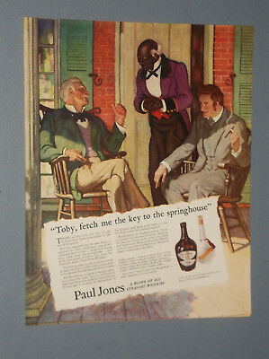 1935 Paul Jones Whiskey Ad Stereotype African American Servant Slave Old South