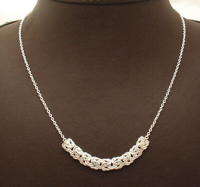"""16"""" Byzantine Bar Necklace with Cable Chain Real 925 Sterling Silver"""