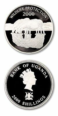 Uganda Zebras 2000 2000 Shillings Proof Silver Crown