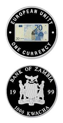 Zambia 20 Euro Commemorative Of Eu Single Currency 1999 1000 Kwacha Proof Crown