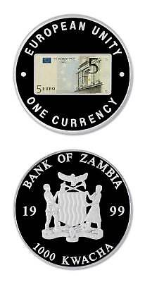 Zambia 5 Euro Commemorative Of Eu Single Currency 1999 1000 Kwacha Proof Crown