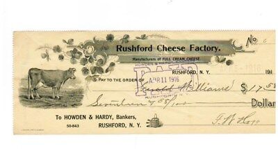 1916 Howden & Hardy Bank Rushford Cheese Factory New York Old Vintage Check