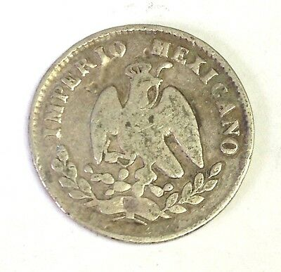 1866 M Mexico 10 Centavos silver - Empire of Maximilian - Rare