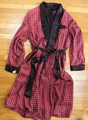 Men's 40s Vintage Rayon Print SMOKING ROBE / Jacket / XL - AS-IS / Wearable Deco