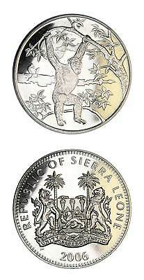 Sierra Leone Legal Tender Wildlife Coin Chimpanzee 2006 BU Prooflike