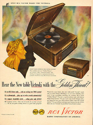 1940s vintage AD RCA Table Victrola wood cabinet Golden Throat 1 121716