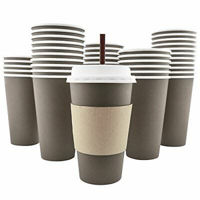 100 Pack - 16 Oz [8, 12, 20] Disposable Hot Paper Coffee Cups, Lids, Sleeves, To
