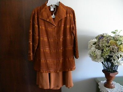 Coldwater Creek Caramel Silk Skirt (12) And Ls Polyester Top - Sz L