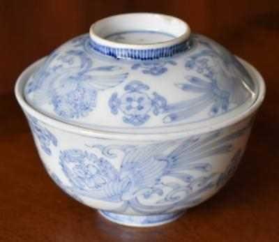 Antique Chinese Blue & White Hand Painted Porcelain Covered Rice Bowl - Have 7