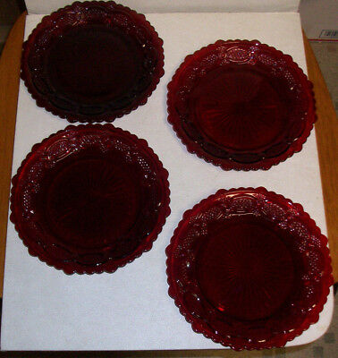 """4 Avon 7-1/2"""" Dessert Plates Ruby Red 1876 Cape Cod Collection"""