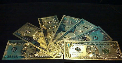 NEW MINT GOLD SET$1-2-5-10-20-50-100-Rep*W/GREAT COLOR-Detail Banknote~FREE SHIP