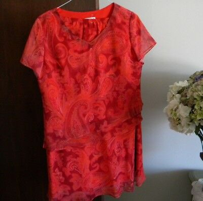 Coldwater Creek Red/orange Print V-Neck Top; Flared Skirt/top Set - Sz 16P Nwt