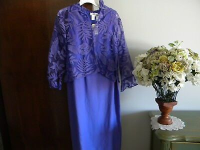 Coldwater Creek Purple Print Ls Top Plain Linen Sleeveless Dress Set Sz 14P Nwt