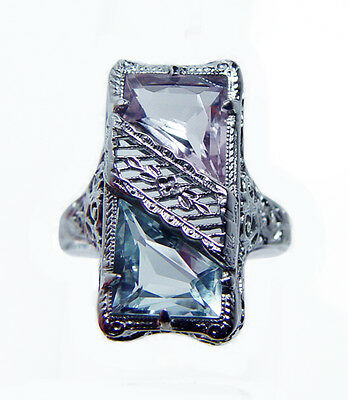 Art Deco 14K White Gold Aquamarine Kunzite Ring Estate JJ White c1920