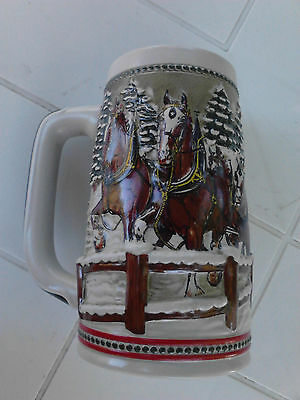 Vintage 1984 Budweiser Clydesdales Through a Covered Bridge Christmas Stein beer