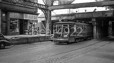Original Trolley Negative: Chicago 5387 63Rd St & Icrr E Of Dochester St 1947