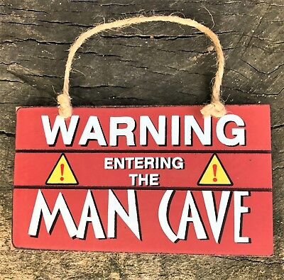 Hanging Man Cave Sign Mens Gift Plaque Bar Pub Funny Door Signs Shed Garage Dad