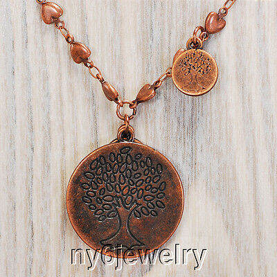 Trendy! Antique Bronze Tone Heart Chain Necklace w/Tree of Life Pendant 18-20""