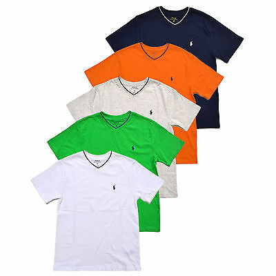 Polo Ralph Lauren Boys V-neck Classic T-shirt Pony Logo Tee Kids Striped Collar