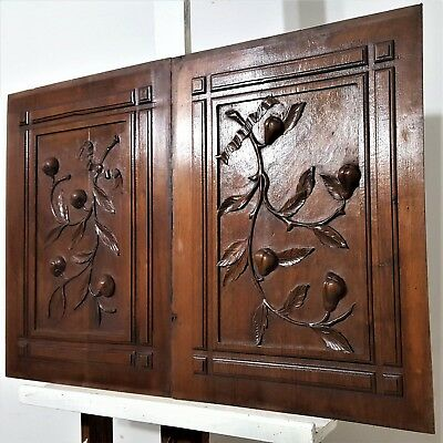 Pair Hand Carved Wood Panel Antique French Fruit Branch Architectural Salvage