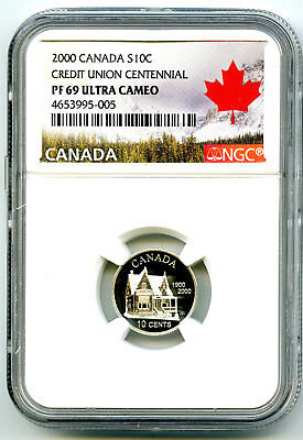 2000 Canada Silver Proof 10 Cent Ngc Pf69 Credit Union Centennial Dime Pop=9