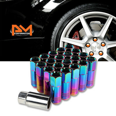 M12X1.5 Neo Chrome JDM Open End Conical Wheel Lug Nuts+Extension 20mmx60mm 20Pc