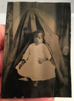 Rare Antique 6th Plate Tintype Photo Black African American Child Hidden Mother