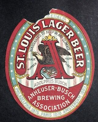 St Louis Lager Prepro Anheuser Busch Budweiser Beer Label St Louis Mo