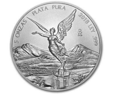 2018 5 oz Mexican Libertad Silver Coin .999 Silver BU Limited Mintage #A300